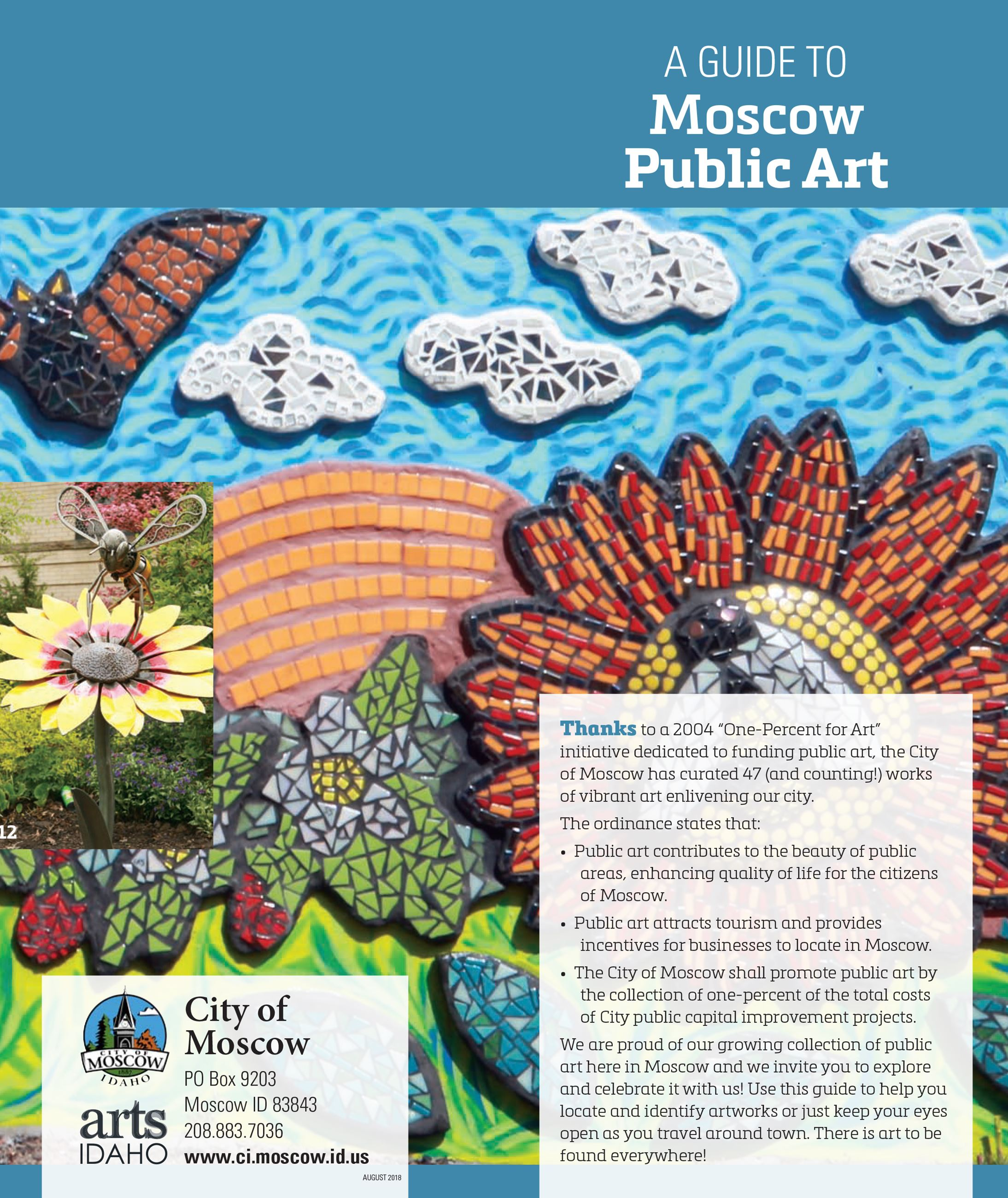 Cover image for Moscow's Public Art Guide depicting the tile mosaic at the Library and details