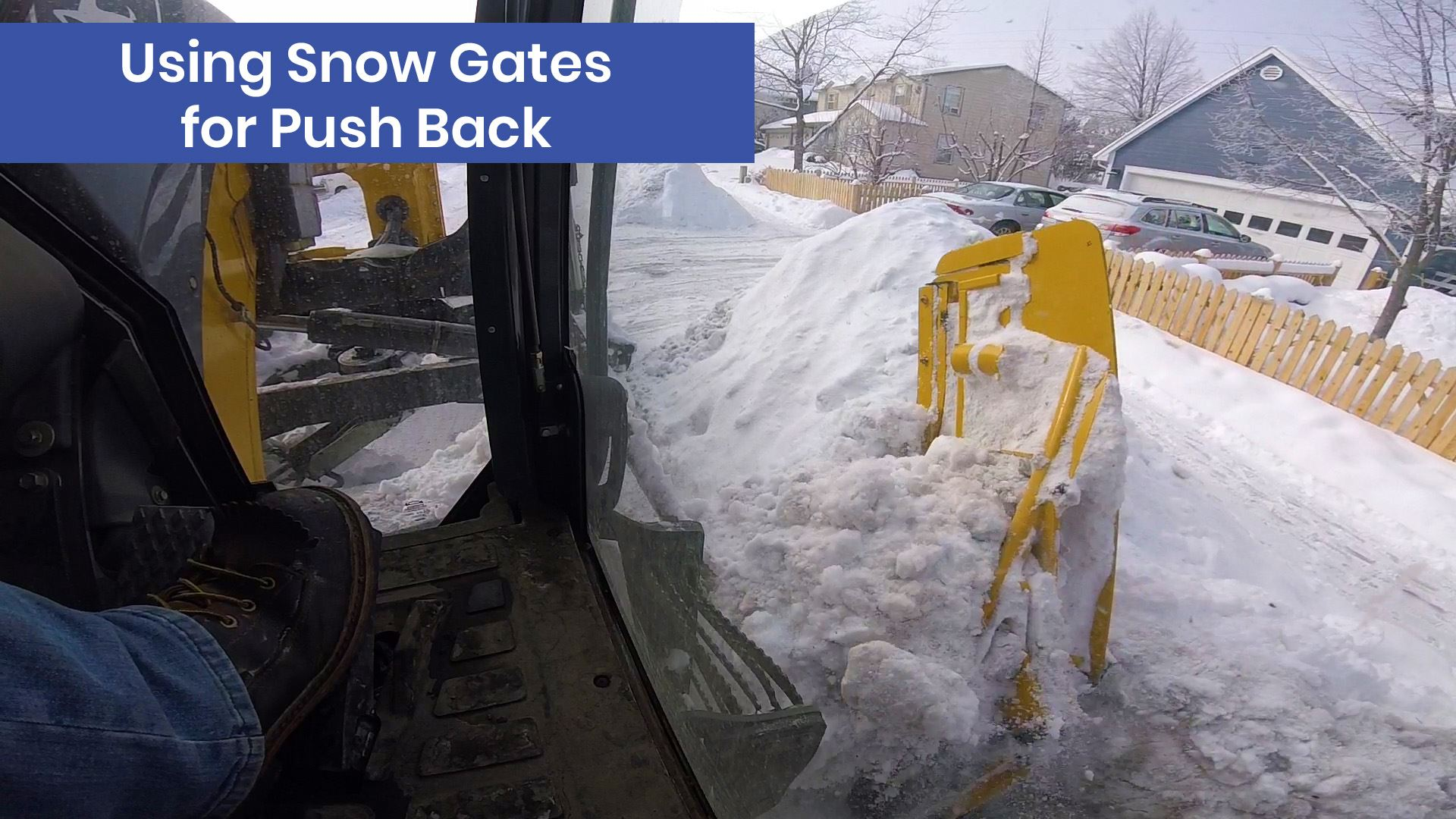 A snow gate operates on heavy equipment