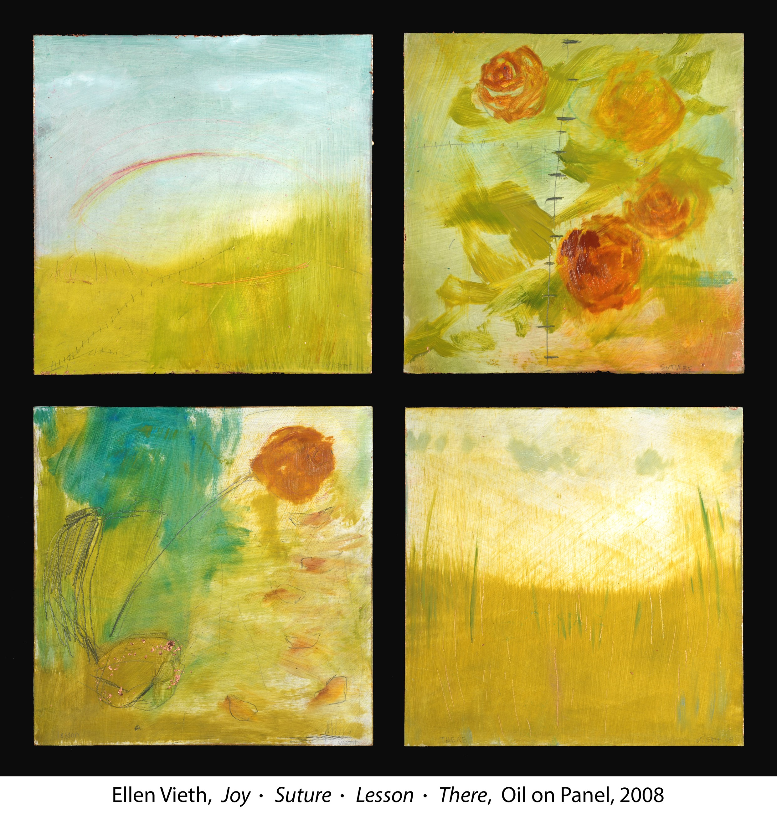 Oil painted flowers on canvas panels