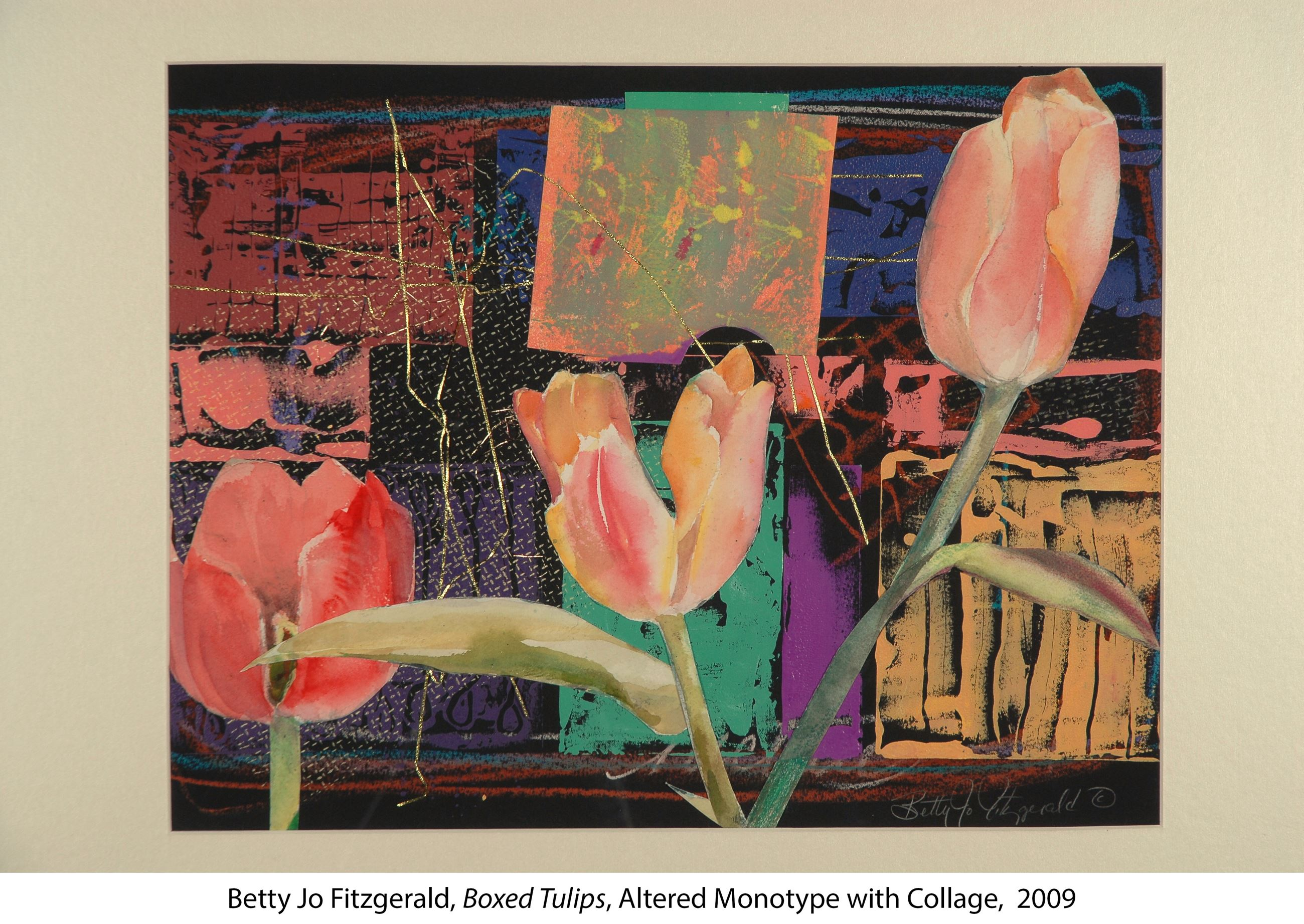 Monotype collage of boxed tulips