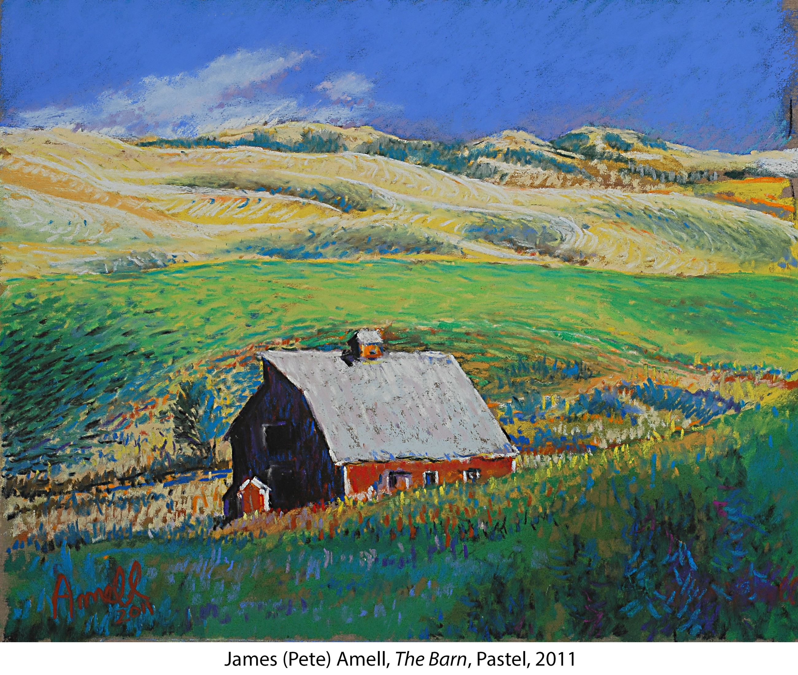 Pastel drawing of rolling Palouse hills and red barn