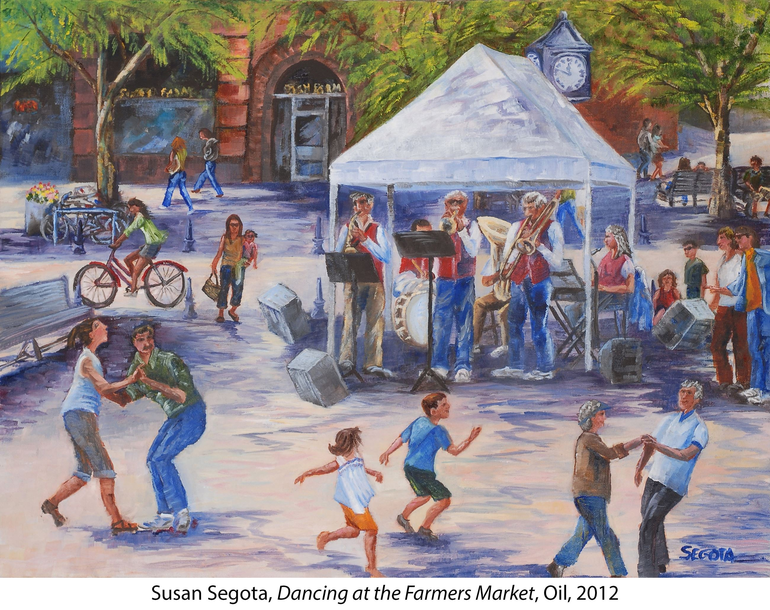 Oil painting of people dancing and enjoying a band playing at the farmers market