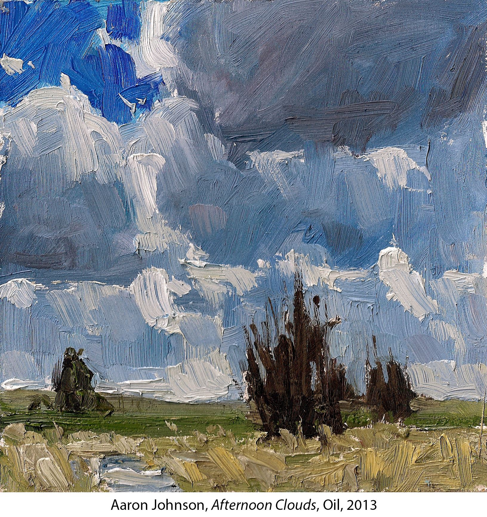 Oil painting of a landscape with blue sky with clouds
