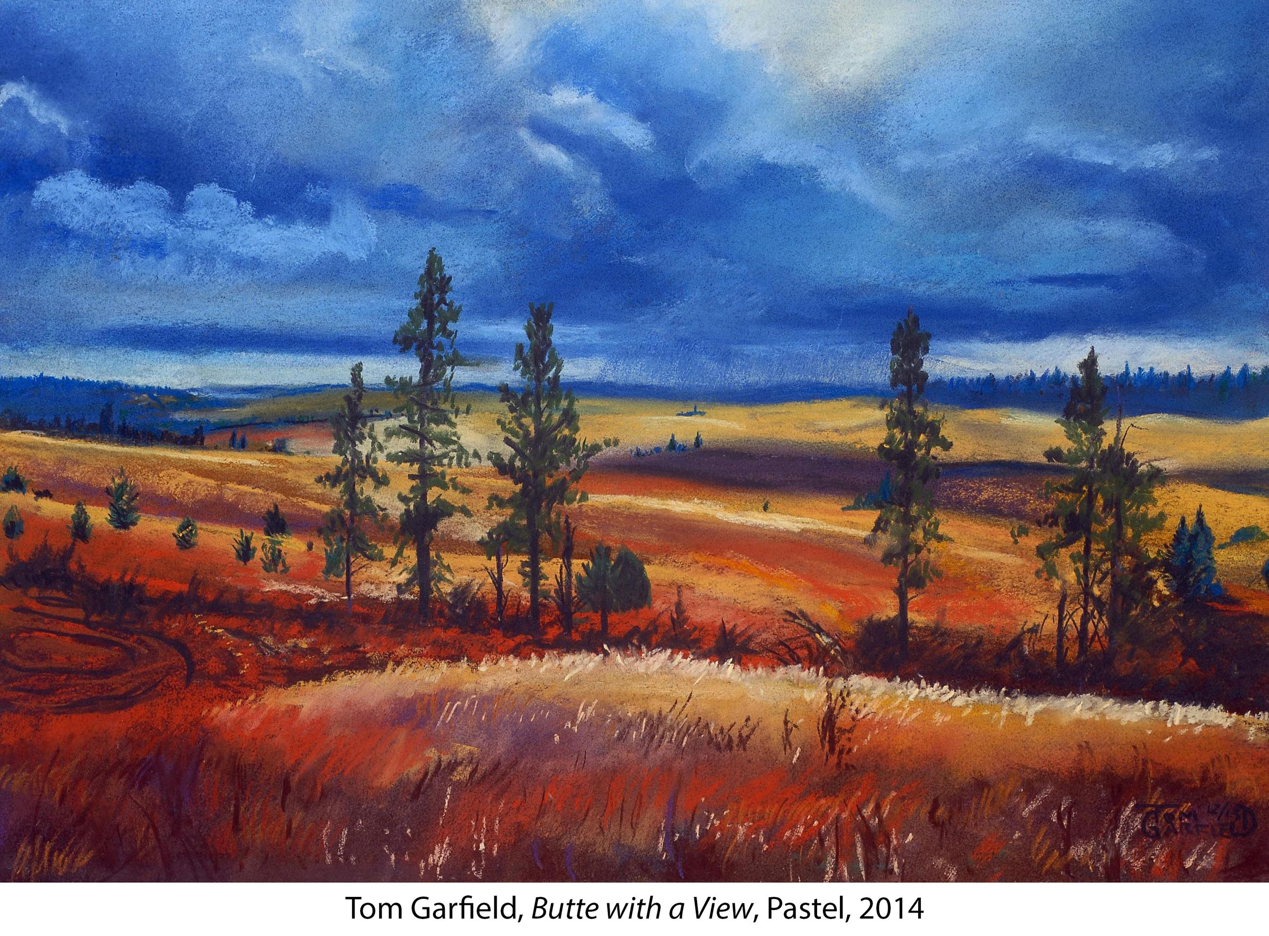 Pastel drawing of rolling Palouse hills and trees