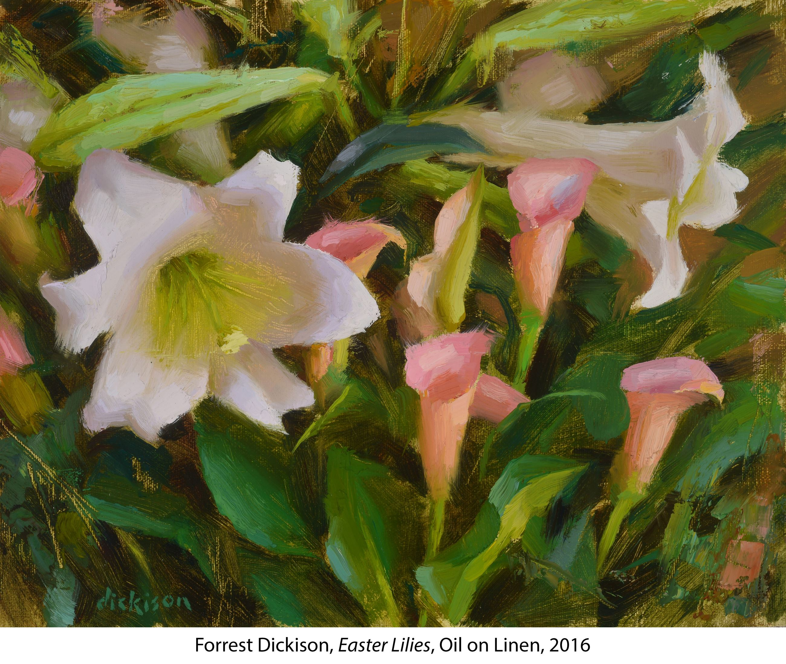 Oil painted pink and white Easter Lillies