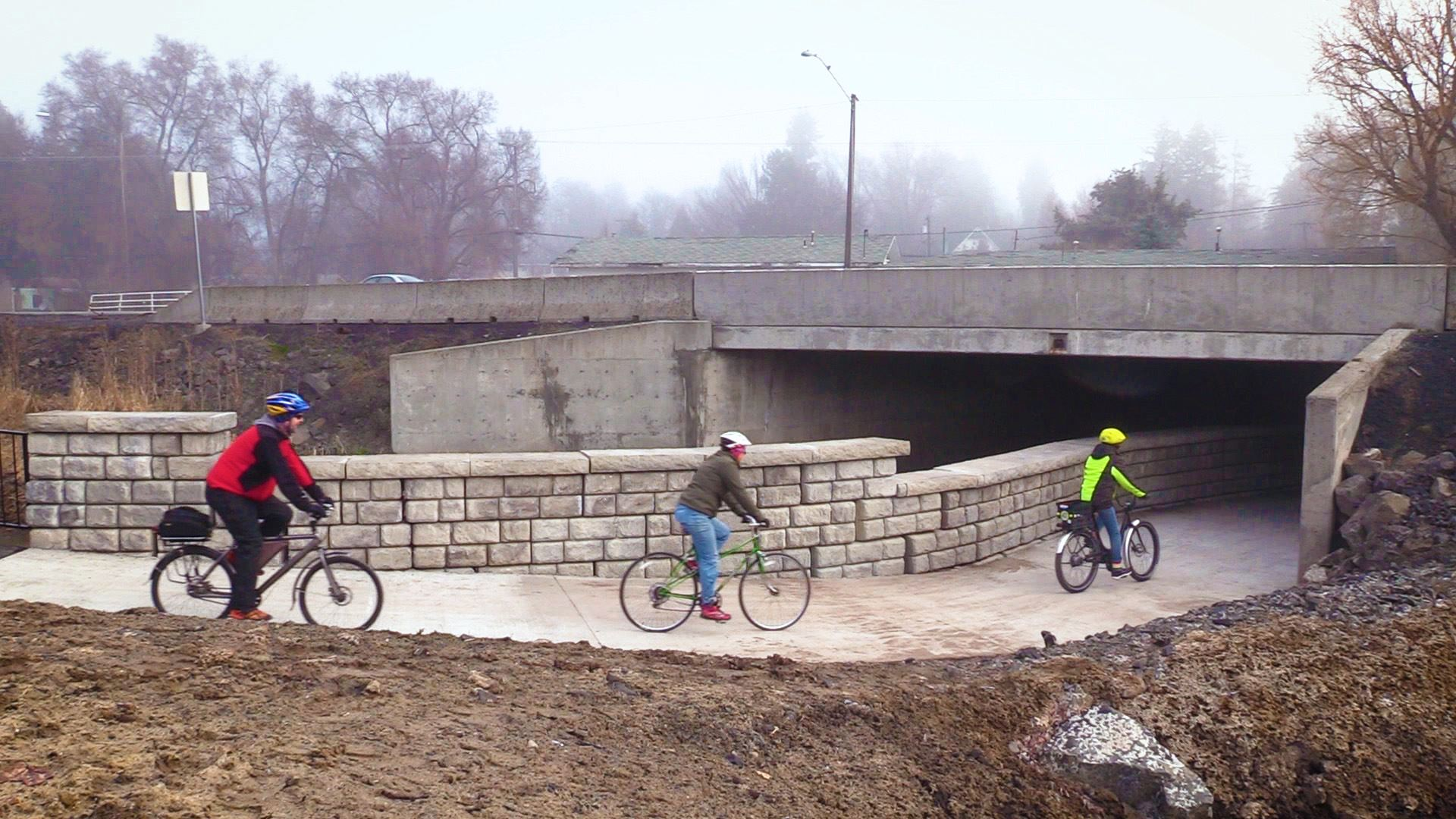 Cyclists using the Highway 8 Underpass