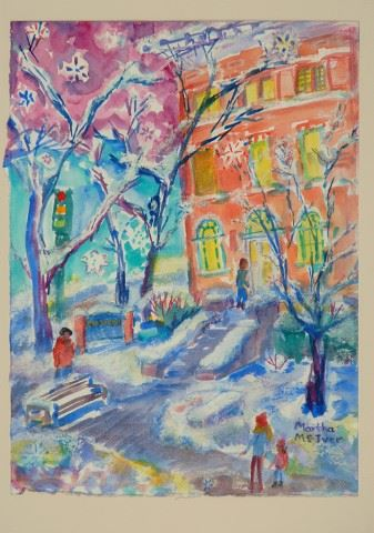 Colorful painting of Moscow City Hall in the snow