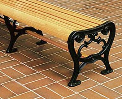 Wooden Bench on Brick Pavers