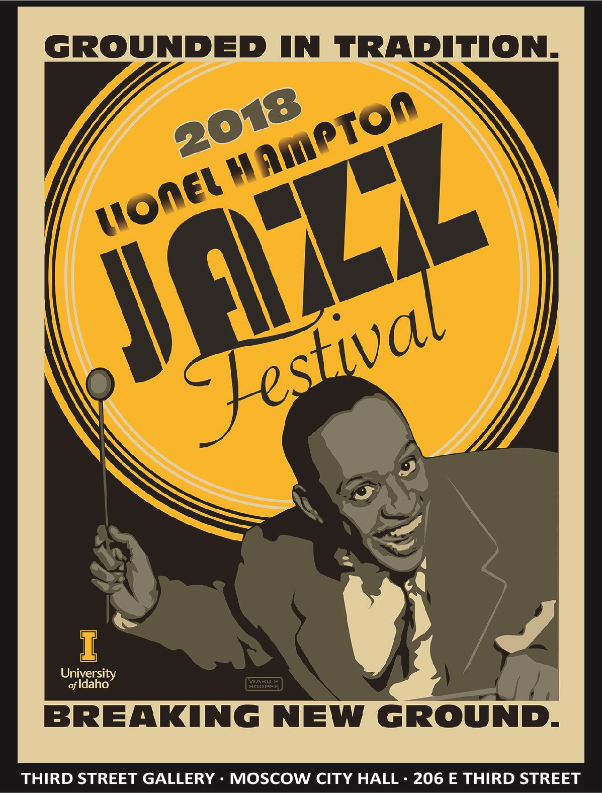 Promotional card for Third Street Gallery exhibit Lionel Hampton Jazz Festival depicting a graphical