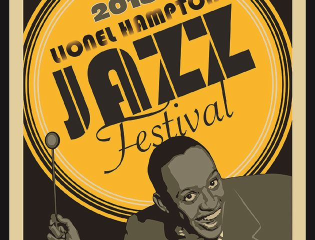 Promotion image for the Lionel Hampton Jazz Festival exhibit at the Third Street Gallery depicting a
