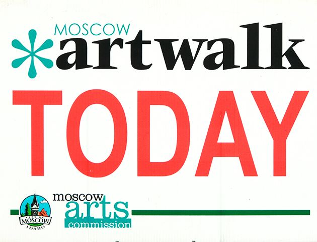 Depicting the text Moscow Artwalk Today and the City of Moscow and Moscow Chamber of Commerce logos