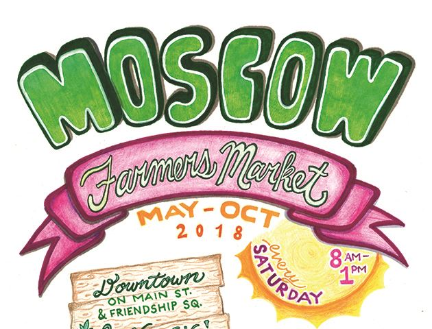 Moscow Farmers Market poster Saturdays May to October from 8a to 1p