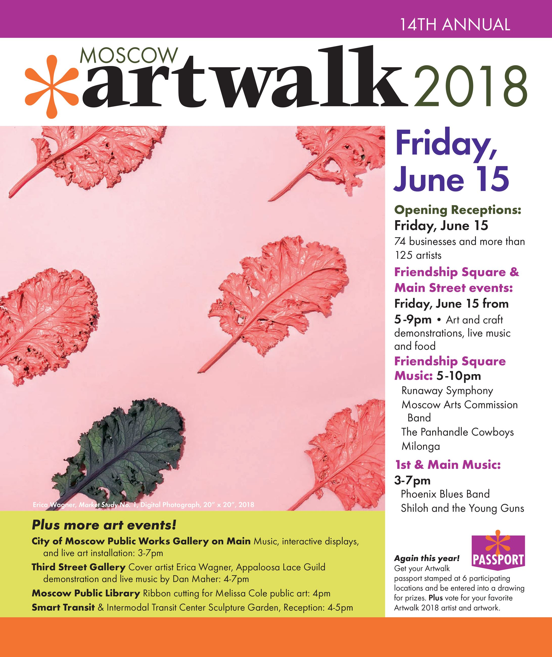 Front of the Artwalk 2018 brochure with information about the event