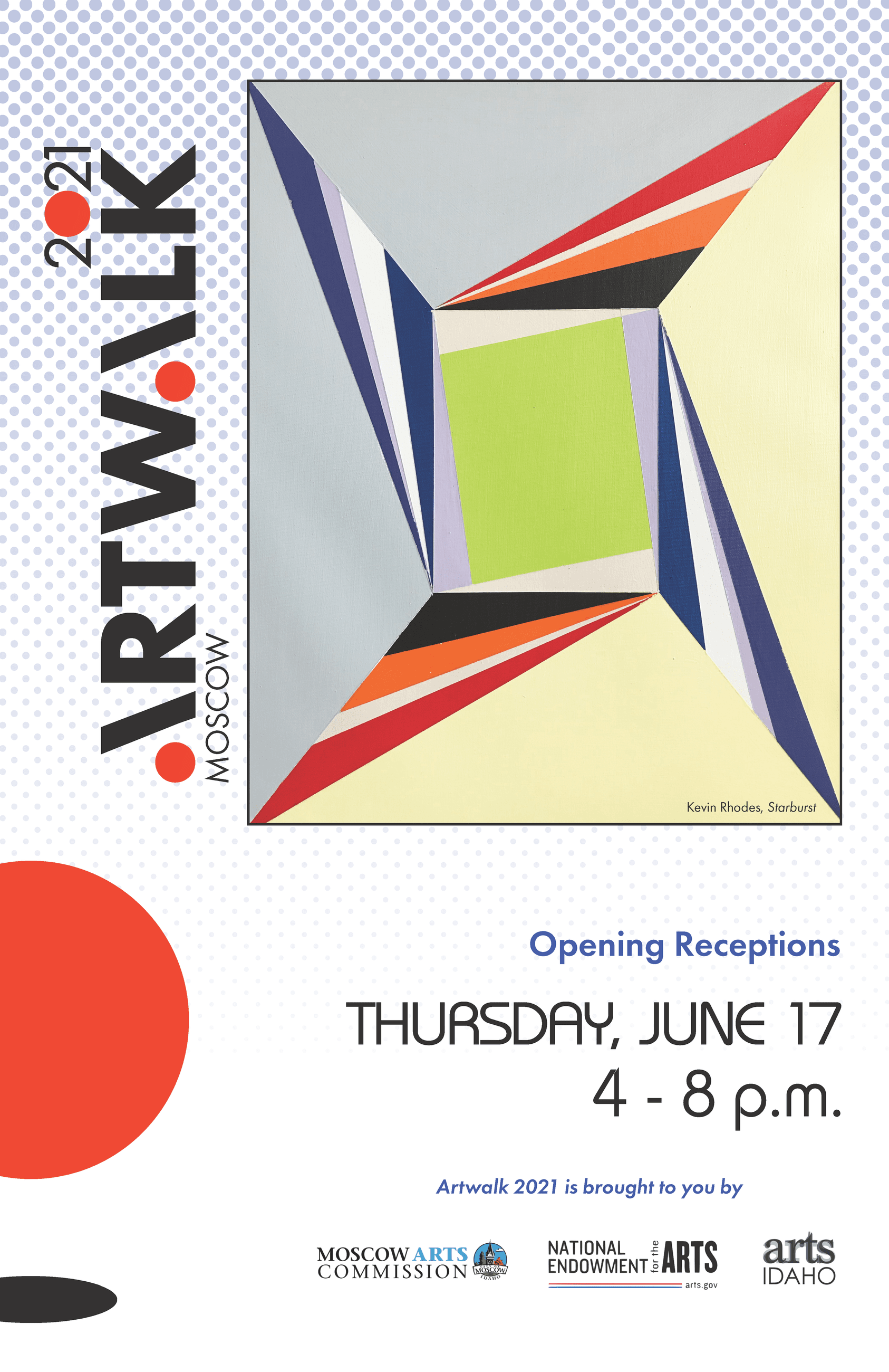 2021 Artwalk Poster featuring colorful geometric shapes