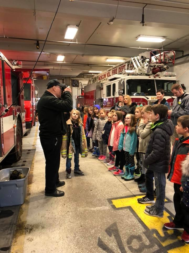 Fire education, students tour the fire station.